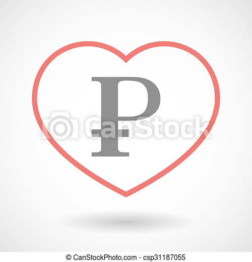 Line heart icon with a ruble sign - csp31187055