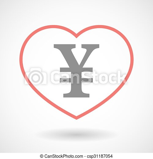 Line heart icon with a yen sign - csp31187054
