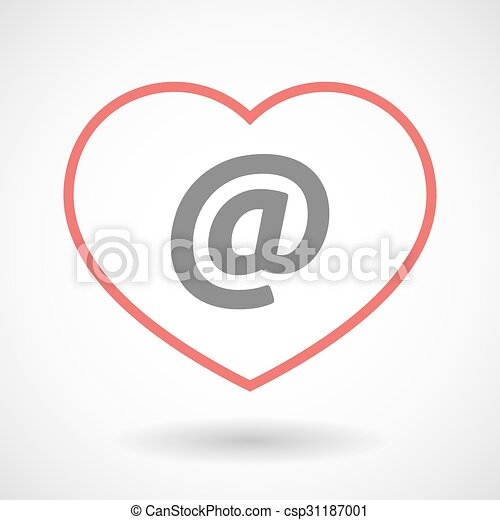 Line heart icon with an at sign - csp31187001