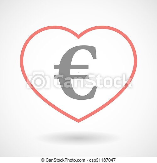 Line heart icon with an euro sign - csp31187047