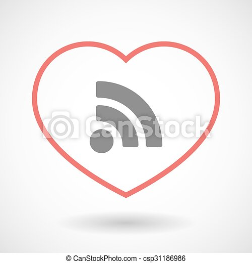 Line heart icon with an RSS sign - csp31186986