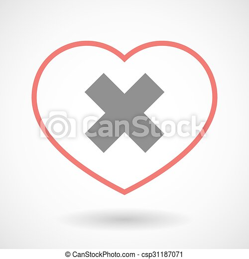 Illustration Of A Line Heart Icon With An X Sign Vectors