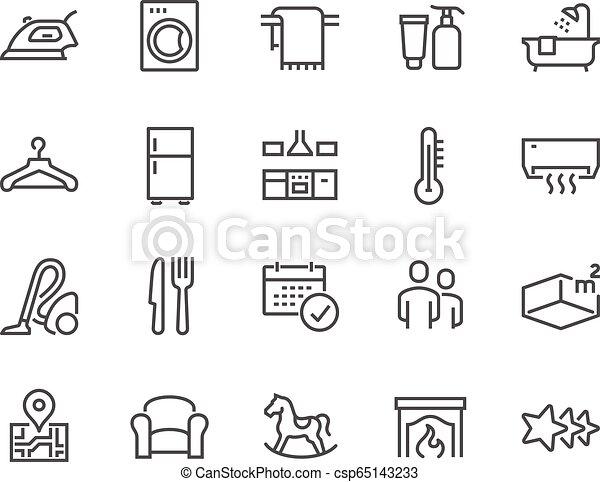 Line Hotel Icons - csp65143233