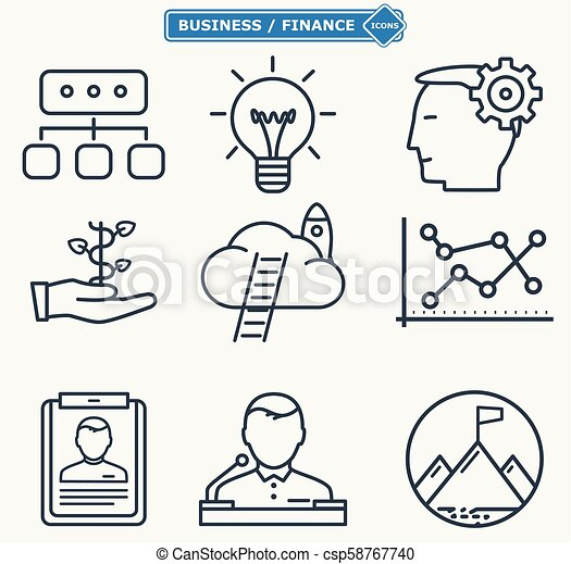 Line icons, business people in a work process, company seminar training, workforce management - csp58767740