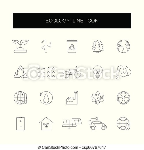 Line icons set. Ecology pack. - csp66767847