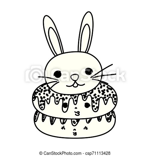 line kawaii cute donuts and male rabbit - csp71113428