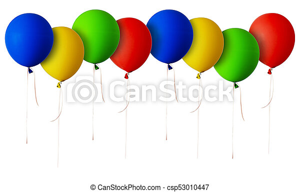 Line of red, blue, green and yellow balloons - csp53010447