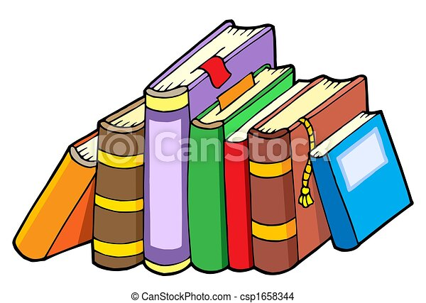 Line Of Various Books Isolated Illustration