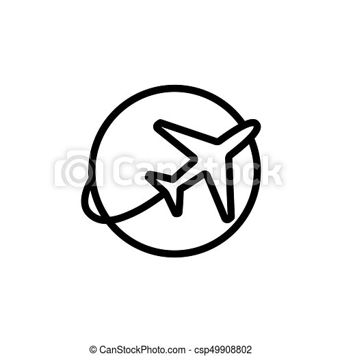 line plane shipping icon on white background - csp49908802