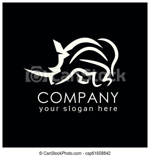 line rhino logo template flat design