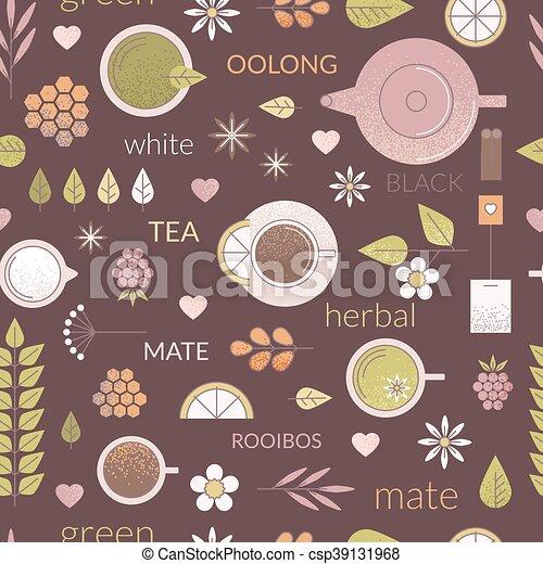 Line tea seamless pattern - csp39131968