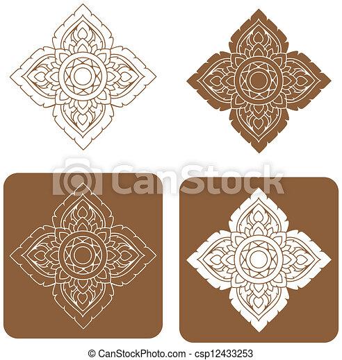 Line thai art pattern illustration. - csp12433253