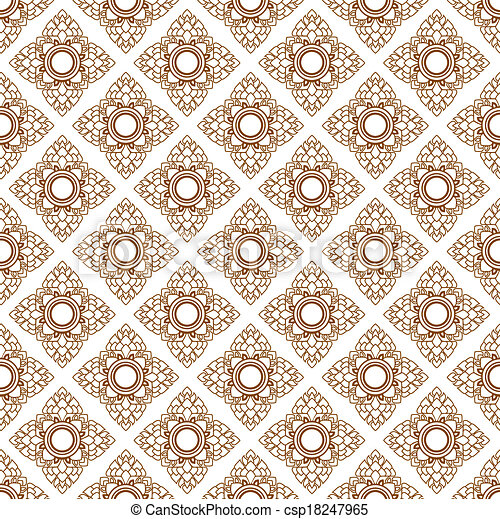 Line Thai art pattern vector illust - csp18247965