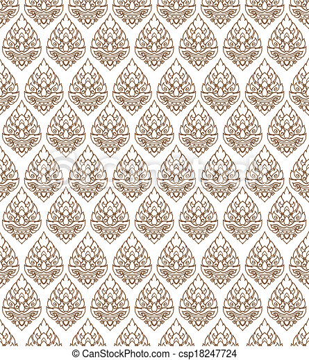 Line Thai art pattern vector - csp18247724