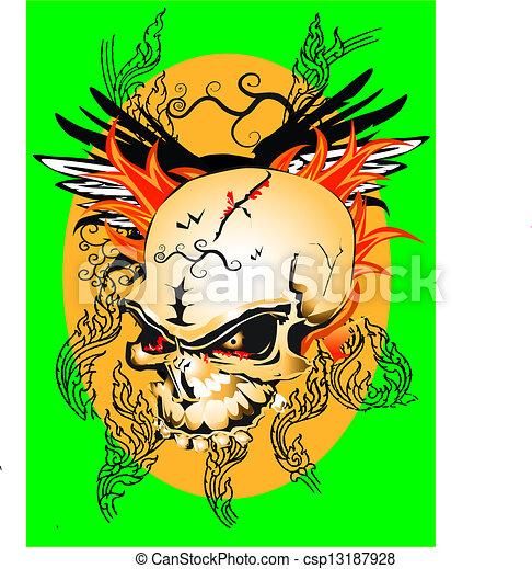 line thai skull pattern - csp13187928