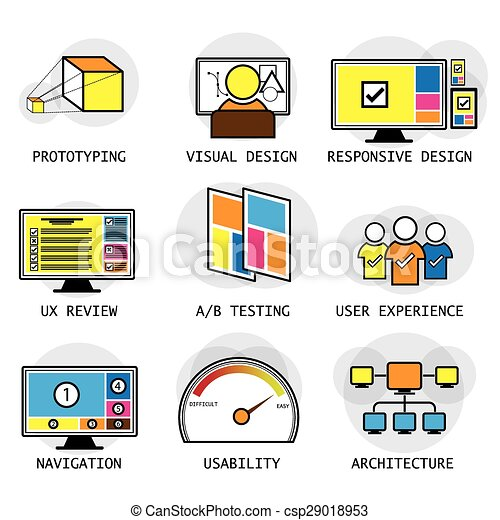 Line Vector Design Of User Interface Experience Concepts