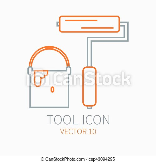 Line working color bucket paint with roller for construction, building and home repair icon. Vector illustration. Element for design. Hand work tool. Industrial style. Pictogram. Service. Equipment. - csp43094295