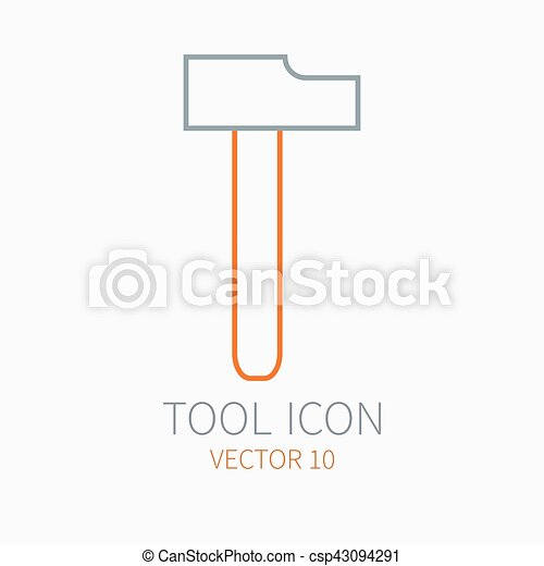 Line working color hammer for construction, building and home repair icon. Vector illustration. Element for design. Hand work tool. Industrial cartoon style. Simple. Pictogram. Service. Equipment. - csp43094291