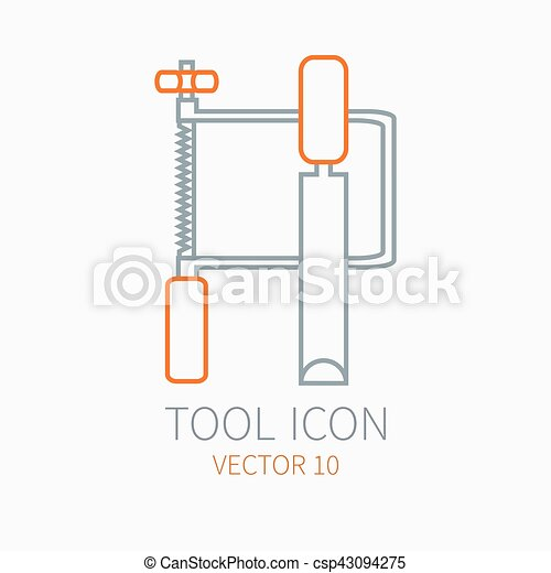 Line working color jig saw with chisel for construction building and home repair icon. Vector illustration. Element for design. Hand work tool. Industrial cartoon style. Pictogram. Service. Equipment. - csp43094275