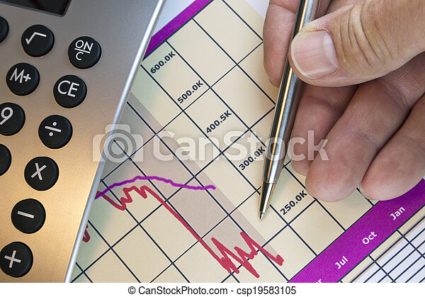 linea, finanziario, conto, mensile, grafico - csp19583105