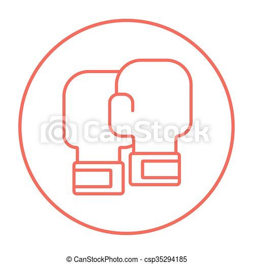 linea, guantoni da box, icon. - csp35294185