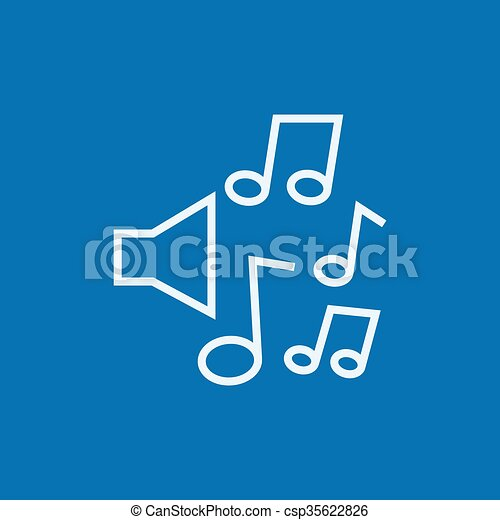 linea, note, musica, icon., altoparlanti - csp35622826