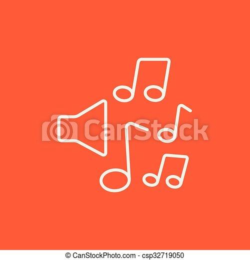 linea, note, musica, icon., altoparlanti - csp32719050