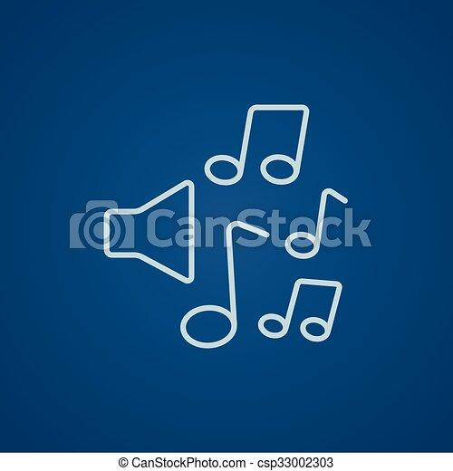 linea, note, musica, icon., altoparlanti - csp33002303