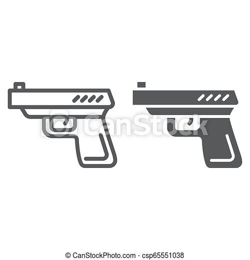Línea de armas y icono glifo, arma y revólver, signo de pistola, gráficos vectoriales, un patrón lineal en un fondo blanco. - csp65551038