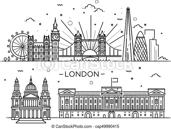 Linear banner of London city. - csp49990415