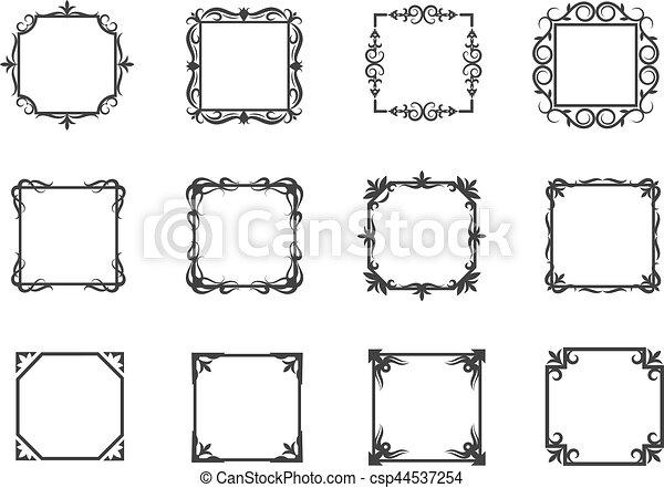 linear einfache abbildung einladungen blumen vektor schlanke wirbel rahmen linie. Black Bedroom Furniture Sets. Home Design Ideas