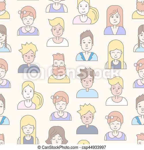 Linear Flat people faces vector seamless pattern. - csp44933997