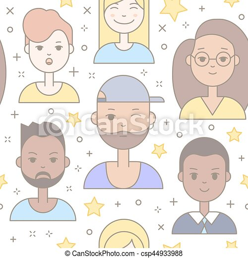 Linear Flat people faces vector seamless pattern. - csp44933988