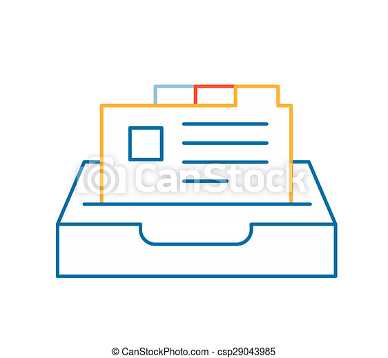 linear illustration of color card file on white background. - csp29043985