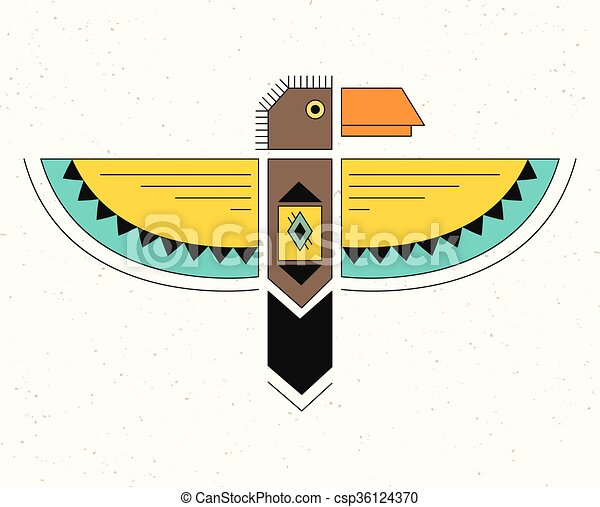 Linear Logo Thunderbird Native American Indian Symbol Geometric