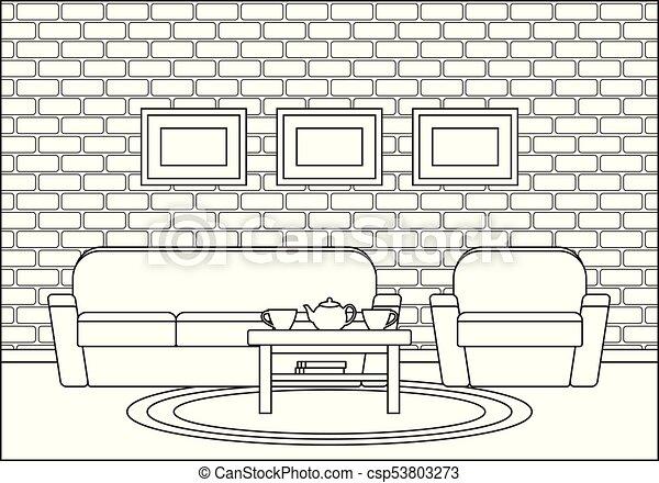Linear Room Interior In Flat Design Vector Illustration