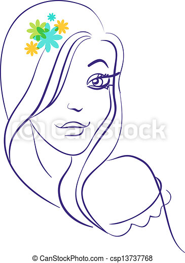 Linear silhouette of beautiful girl silhouette in with flowers - csp13737768