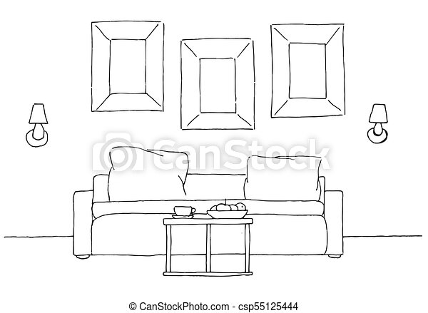Linear Sketch Of An Interior Sofa Table Lamp And Picture Hand