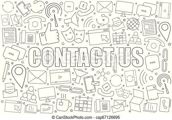 linearny, pattern., na, kontakt, wektor, tło, icon., kreska - csp67126695