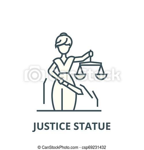 linearny, sprawiedliwość, symbol, szkic, znak, wektor, statua, ikona, kreska, pojęcie - csp69231432