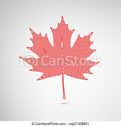 Lined Maple Leaf - csp21328951