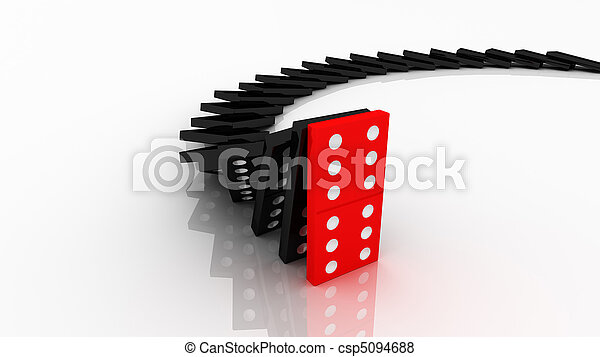 lined up dominoes falling. Red stop others. - csp5094688