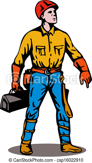 lineman standing with toolbox illustration of a power clipart rh canstockphoto com offensive lineman clipart lineman clip art silhouette