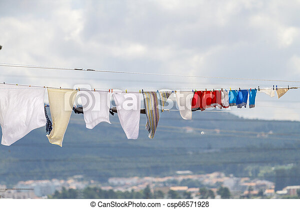 linen is dried in the summer heat - csp66571928