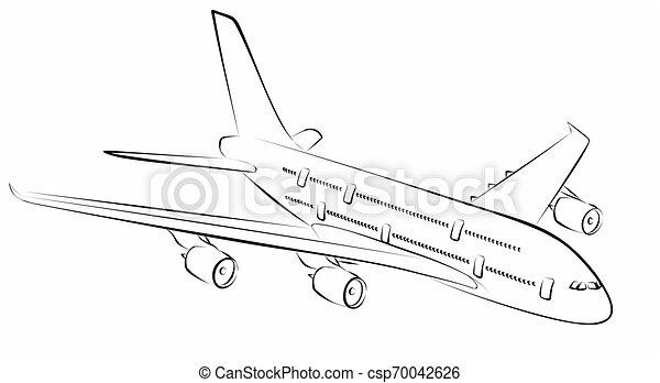 liner., passageiro, esboço - csp70042626