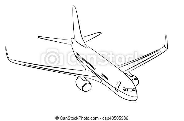 liner., passageiro, esboço - csp40505386