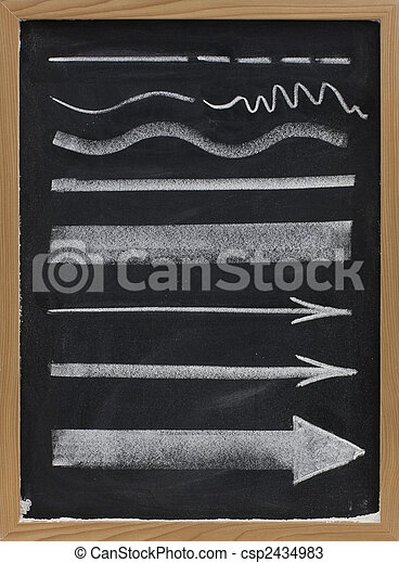 lines and arrows - white chalk on blackboard - csp2434983