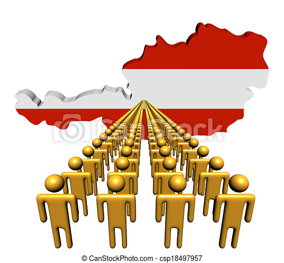 Lines of people with Austria map flag illustration - csp18497957