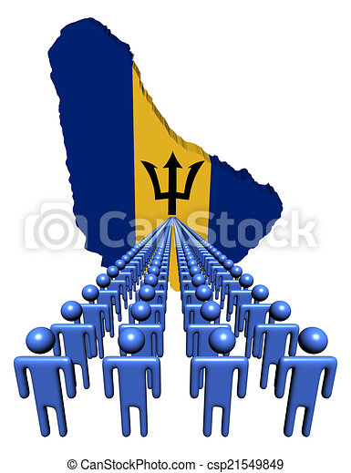 Lines of people with Barbados map flag illustration - csp21549849