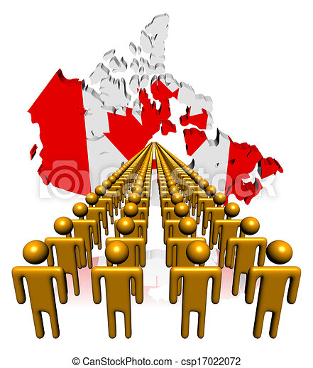 Lines of people with Canada map flag illustration - csp17022072
